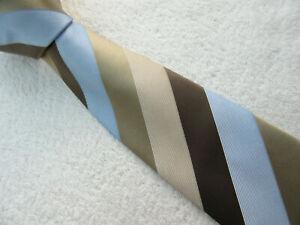 BROWN BEIGE LIGHT BLUE 3.25 inch polyester necktie TIE from MARKS & SPENCER