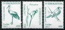 Birds set of 3 mnh stamps 2017 Uzbekistan Stork Magpie Nightingale