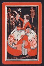 1 Single VINTAGE Swap/Playing Card BIG DRESS LADY BIRD 'PRISCILLA WP-8-19 ORANGE