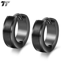 Quality TT Black Matt Stripe Stainless Steel Hoop Earrings (EH109D )NEW