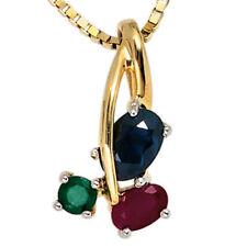 Halsketten und Anhänger mit Saphir Echtschmuck aus Gelbgold für Damen