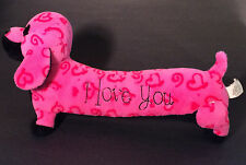 """Plush Love Pups Pillow Dog Black & Pink - I Love You - 13"""" - 11/09 Collectible"""
