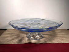 """Nice Light Blue Glass Footed Cake Stand 13"""" w x 4 3/8"""" T"""