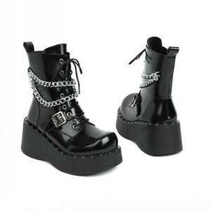 Womens Ladies Zip Creepers Chunky Cleated Platform Goth Punk Ankle Boots Shoes L