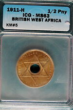 1911-H ICG MS63 British West Africa 1/2 Penny KM#5! #B7054