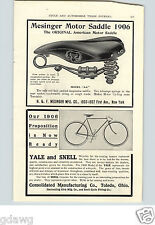 1905 PAPER AD Mesinger Motorcycle Bicycle Saddle Seat Yale & Snell Toledo