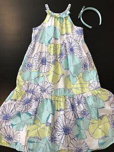 Gymboree Greek isle Mermaid sundress halter aqua green blue floral size 7 NEW