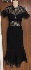 SELF-PORTRAIT Arabesque Lace Flounced Embroidered Dress Size UK 8