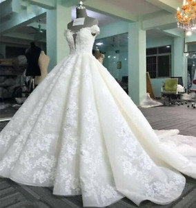 Long Train Wedding Dresses Lace Tulle Appliques Luxury Formal  Ball Gown Custom