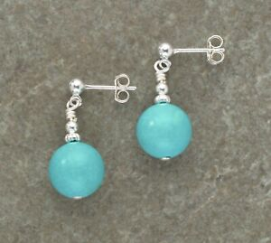 Large 10mm Real Turquoise Gemstone & Sterling Silver Stud Drop Earrings Gift Box