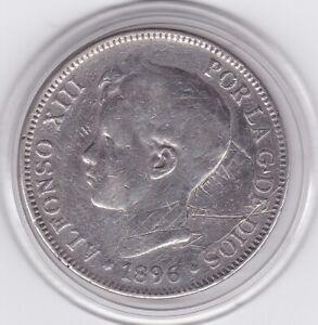 Spain   1896  PG-V   5   Pesetas  Large  Silver  90%   Coin