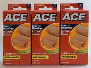 Pack of 3 ACE Antimicrobial Velcro Brand Closure Elastic Bandages 4 Inches