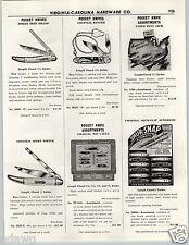 1956 PAPER AD Shur Snap Press Button Pocket Knife Knives Store Display Colt