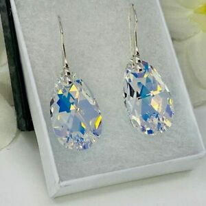 925 Sterling Silver Earrings Pear Jewellery AB Made With Swarovski® Crystals