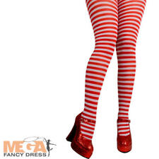 Red & White Candy Cane Stripe Tights Christmas Fancy Dress Costume Ladies Access