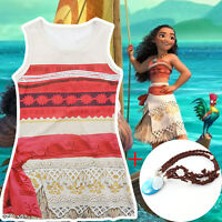 Girls Deluxe Disney Moana Princess Fancy Dress Costume Dressing Up Cosplay Skirt