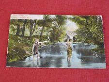 1910 Stone Bridge, New Swimmin' Hole, Adrian, MI Postcard Posted