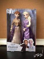 2019 Disney Queen Gold & Purple Gown Anna Elsa Classic Doll Boxed Set Frozen 2