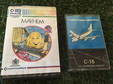 2 JUEGOS COMMODORE 16 C16 cinta de casete vuelo cero-uno cinco + Mayhem