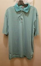 Peter Millar Summer Comfort Golf Polo Shirt Large Striped Stretchy Yellow Green