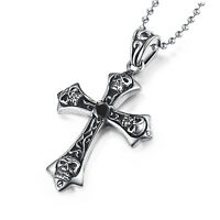 skulls cross black simulated diamond silver stainless steel pendant necklace