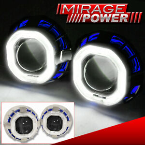 "For Audi Vw Lotus Blue White Dual Halo Rings 2.5"" Projector Retrofit Headlight"