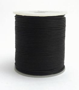 100m Baumwollband (0,06 €/1m) schwarz 1 mm rund poliert gewachst Rolle/Spule