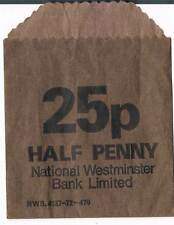 USED NATIONAL WESTMINSTER BANK 25p HALF PENNY PAPER COIN BAG - BROWN