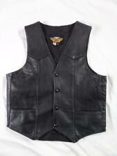 vintage HARLEY DAVIDSON made in USA leather vest SMALL 38 black motorycycle
