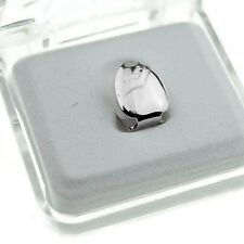 Single Cap Platinum Silver Tone Plain Tooth Bling Grill Hip Hop Jewelry Grills