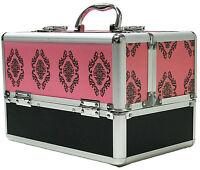 Large Pink Aluminium Beauty Damask Cosmetic Box Nail Make Up Vanity Salon Case
