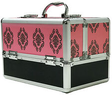 Large Pink Aluminium Beauty Damask Cosmetic Box Nail Make Up Vanity Salon Case