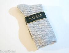 Ralph Lauren Ladies Socks Angora Wool Blend Waffle Weave Heather Grey - NEW