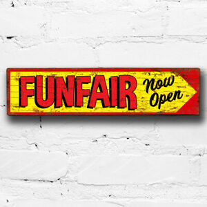 Funfair Open 40cm Sign Fun Fair Circus Vintage Style Wood Plaque Sideshow