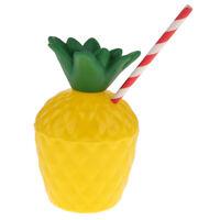 Tropical Fruit Pineapple Drink Cup & Straw Hawaiian Luau Beach Party Decor