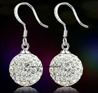 Women Girl Sterling Silver Crystal Disco Ball Dangle Drop Earrings Gift Box F1