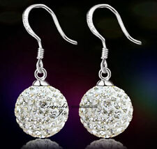 Women Girl Sterling Silver Crystal Disco Ball Dangle Drop Earrings Gift Box