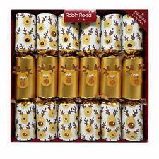 """Robin Reed English Christmas Crackers Pack of 6 x 13"""" Gold Racing Reindeer"""
