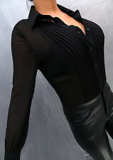 NEU 2017 Unique Transparent Schwarz VIP Damen Sexy Shirt Hemd M85 Blouse Bluse L
