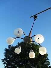 Mid Century Danish Modern Style Chandelier wood  Glass Shades 6 Light balls