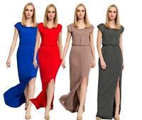 Damen Elegantes Kleid Maxikleid Abendkleid Cocktailkleid mit Schlitz Gr. S M L X