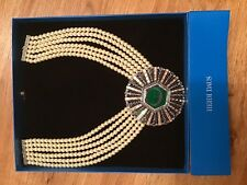 Heidi Daus White Pearl Necklace/ Green Rhinestones NIB