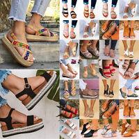 Women Sandals Platform Open Toe Espadrille Wedge Heels Ankle Strap Shoes Slipper