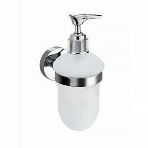 BATHROOM ROUND PUMP SOAP DISPENSER HOLDER GLASS ABS BRASS CHROME WALL MOUNTED