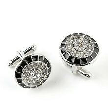 Silver and black round diamond Cufflinks UK Seller Brand New