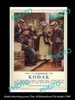 8x6 HISTORIC PHOTO OF KODAK CAMERA ADVERTISING POSTER REMEMBER THE KODAK c1900
