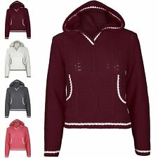 Womens Ladies Cricket Chunky Cable Knitted Pullover Hoodie Hoody Crop Jumper Top