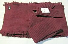 UGG MAROON HAT ARMWARMER SCARF SET  NEW IN BOX  MSRP $195