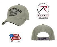 US Flag Veteran Low Profile Baseball Cap Hat Ball cap Vintage Olive Rothco 3599