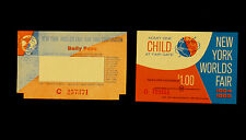 1964/1965 NYWF Set Of Tickets - 1 Child, & 1 Daily Pass